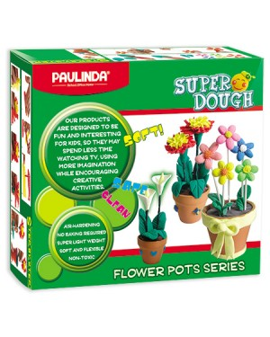 Super Dough Non Toxic - Flower Pot, 84 g. Accessories (2 Plastic Pots, Crafting tools, glue, doughs)  are in the box, for 3+ years old.