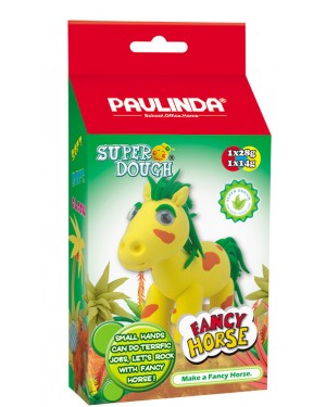 Super Dough Non Toxic - Fancy Horse 02 Yellow , 42 g. Accessories are in the box, for 3+ years old.