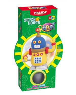 Super Dough Non Toxic - Robot 02 Yellow Auto-Steps (Can Walk), 28 g. Accessories are in the box, for 3+ years old.