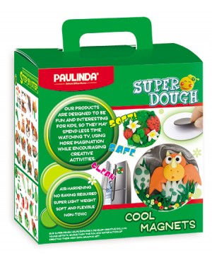 Super Dough Non Toxic- Cool Magnets, 50 g. Accessories (2 Magnets,Glitter Glue,2 Papers, Crafting tools, Doughs) are in the box, for 3+ years old.