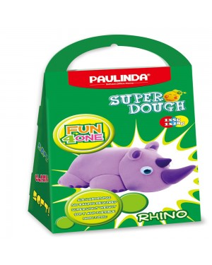Super Dough Non Toxic - Fun 4 one, Rhino, 42 g. Accessories are in the box, for 3+ years old.