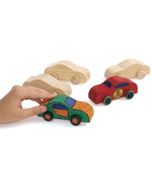 REAL ROLLING WOODEN CARS - SET OF 12