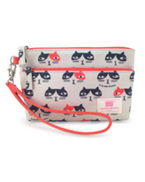 Meow - Two Zipper Pouch size 18W(top) / 16W (bottom) x 12.5H x 5D cm.