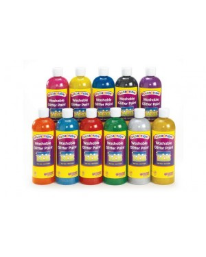 Colorations Washable Glitter Paint 16 OZ - Silver