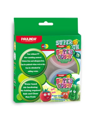 Super Dough Non Toxic - 56 g. A set contains 4 colors (Blue, Red, Yellow, White) 14 g. each color. For 3+ years old.