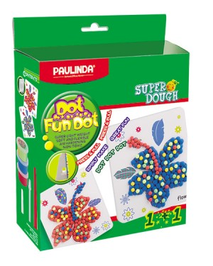 Super Dough Non Toxic - Dot Fun Dot, Two Flowers,   84 g. Accessories are in the box, for 3+ years old.