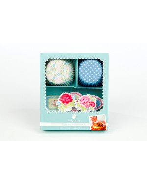 Floral Treat, 20 Cupcake Cases + 20 Picks Set