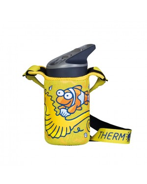 Stainless Steel Thermo Bottle Blue -  Yellow